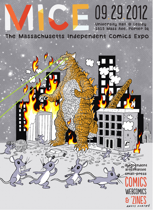 MICE (Massachusetts Independent Comics Expo) 2012 poster, by Ansis Purins